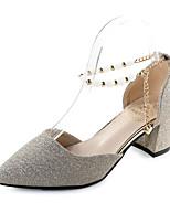 Damen-Sandalen-Outddor Lässig Kleid-Kunstleder-Blockabsatz-T-Riemen-Gold Silber