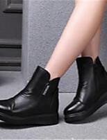Damen-Stiefel-Lässig-PU-Flacher Absatz-Komfort-Schwarz