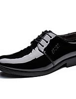 Masculino-Oxfords-sapatos Bullock Sapatos formais-Rasteiro-Preto-Pele-Casamento Escritório & Trabalho Casual Festas & Noite