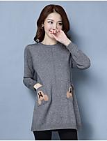 Damen Lang Pullover-Ausgehen Lässig/Alltäglich Einfach Solide Rundhalsausschnitt Langarm Wolle Herbst Mittel Mikro-elastisch