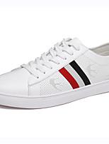 Hombre-Tacón Plano-Confort Suelas con luz-Zapatillas de deporte-Exterior Informal-Cuero-Blanco Negro