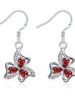 Серьги-слезки Кристалл Серебрянное покрытие Цветочный дизайн В форме цветка Лиловый Пурпурный Прозрачно-белый БижутерияСвадьба Для