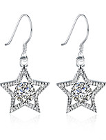 Concise Silver Plated Clear Crystal Five-Pointed Star Waterdrop Dangle Earrings for Party Women Jewelry Accessiories