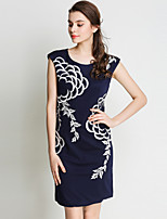 SUOQI Fashion Round Neck Sleeveless Embroidered Dress Casual Vacation Party Home Family Gathering Dress