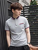 с короткими рукавами футболки мужчин хлопка летние мужчины&# 39, S воротник тонкий сплошной цвет с коротким рукавом платье отворотом