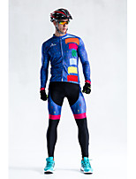 Cycling Jersey with Bib Tights Men's Unisex Long Sleeve BikeBreathable Quick Dry Windproof Anatomic Design Fleece Lining Ultraviolet