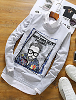 -P27 Head embroidered long-sleeved round neck T-shirt men 95% cotton 5% spandex Japanese