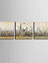 MINI SIZE E-HOME Hazy City Scenery Clock in Canvas 3pcs