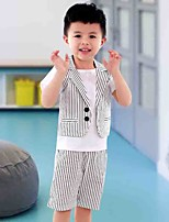 Boy's Cotton Fashion Pure Cotton Striped cCollar Ma3 Jia3 Shorts Suit Stripe Dress And Personality Two-Piece Outfit