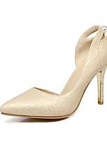Damen-High Heels-Kleid-Kunstleder-Stöckelabsatz-Komfort-Gold Silber Grau Rosa
