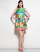Для женщин На выход На каждый день Пляж Богемный А-силуэт Платье Цветочный принт,Круглый вырез Выше колена Без рукавов Полиэстер Спандекс