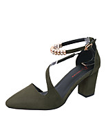 Women's Sandals Summer T-Strap Fleece Outdoor Dress Casual Chunky Heel Buckle Walking