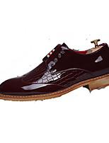 Белый Черный Синий Вино-Для мужчин-Свадьба Для офиса Для вечеринки / ужина-Кожа-На плоской подошве-Удобная обувь Формальная обувь-Туфли
