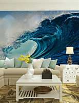 Art Deco Wallpaper For Home Wall Covering Canvas Adhesive Required Mural Colored Blue Waves Surfing XXXL(448*280cm)