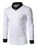 Tee-shirt Homme,Mosaïque Décontracté / Quotidien simple Printemps Automne Manches Longues Asymétrique Coton Polyester Moyen