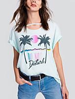 Feminino Camiseta Casual Praia Moda de Rua Verão,Estampado Letra Algodão Decote Redondo Manga Curta Fina