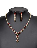 Schmuckset Ohrstecker Halskette Strass Modisch Klassisch Kupfer Tropfen Gold 1 Halskette 1 Paar Ohrringe FürHochzeit Party Besondere