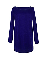 Women's Going out Casual/Daily Regular Pullover,Solid Round Neck Long Sleeve Cotton Spandex All Seasons Medium Micro-elastic