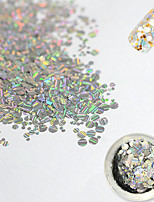 1 Bottle 1mm2mm3mm Mixed Fashion Laser Glitter Stripe Round Paillette Nail Art Glitter Decoration Nail Shiny Clear Thin Slice DIY Beauty 3D Decor TW04