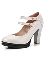 Heels Spring Summer Fall Club Shoes PU Office & Career Dress Casual Chunky Heel Buckle