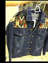 Women's Casual/Daily Simple Spring Denim Jacket,Color Block Shirt Collar Long Sleeve Regular Cotton