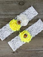 2pcs/set Yellow And Milk White Satin Lace Chiffon Beading Wedding Garter