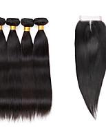 Cabelo Humano Ondulado Cabelo Indiano Retas 6 meses 5 Peças tece cabelo