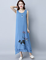 Spring Summer Women For Dresses Going out Casual Beach Street chic Chinoiserie Loose Dress Round Neck Sleeveless