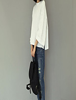 Damen Solide Einfach Ausgehen T-shirt,Rundhalsausschnitt Sommer ½ Länge Ärmel Baumwolle Mittel