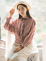 Women's Work Vintage Street chic Spring Shirt,Geometric Shirt Collar Long Sleeve Cotton Medium