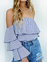 Women's Going out Work Simple Sophisticated Blouse,Striped Boat Neck Short Sleeve Rayon Polyester