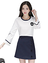 Women's Going out Casual/Daily Sexy Simple Summer T-shirt Skirt Suits,Solid Round Neck Long Sleeve Denim Cotton Acrylic Inelastic