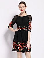Women's Going out Holiday Sexy Sophisticated A Line Dress,Embroidered Round Neck Above Knee ½ Length Sleeve Polyester Summer Mid Rise