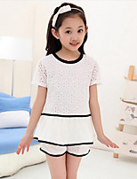 Girls' Casual/Daily Striped Sets,Rayon Summer Short Sleeve Clothing Set