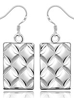 Concise Silver Plated Striped Rectangle Dangle Earrings for Party Women Jewelry Accessiories