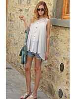 Ms. 2016 summer new European and American women's sleeveless lace stitching loose shirt