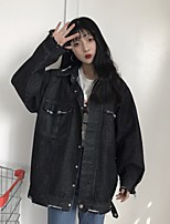 Women's Going out Casual/Daily Vintage Cute Spring Denim Jacket,Solid Round Neck Long Sleeve Regular Cotton