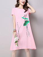 Feminino Solto Vestido,Para Noite Casual Moda de Rua Temática Asiática Estampado Decote Redondo Longo Manga Curta Algodão Linho Verão