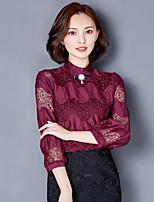 Real shot lace shirt bottoming shirt Women Autumn 2016 fashion cultivating long-sleeved shirt small shirt