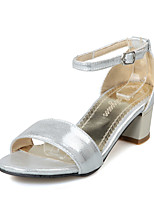Women's Sandals Summer D'Orsay & Two-Piece Leatherette Wedding Dress Party & Evening Chunky Heel Block Heel BuckleGold Black Silver