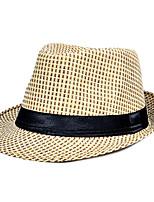 Men Women Summer Thin Couple Shade Grass Jazz Hat Flat Top Leisure Cap