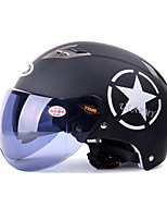 YEMA 329 Motorcycle Helmet Summer ABS Anti-UV Half Helmet For 54-61cm with Black Tea Short Lens