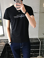 Men's Going out Casual/Daily Holiday Simple Street chic Active All Seasons T-shirt,Letter Round Neck Short Sleeve Cotton Medium
