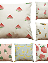 Set of 6 Creative  Fruit Pattern  Linen Pillowcase Sofa Home Decor Cushion Cover  Throw Pillow Case (18*18inch)