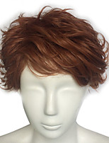 Brown Wig Cosplay Wig Short Wavy Synthetic Fiber Capless Top Quality Wig
