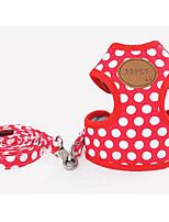 Dog Leash Adjustable/Retractable Training Polka Dots Nylon Black Red