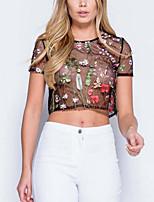 Damen Stickerei Street Schick Anspruchsvoll Ausgehen Urlaub T-shirt,Rundhalsausschnitt Frühling Sommer Kurzarm Polyester Lichtdurchlässig