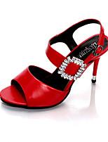 Feminino-Saltos-Conforto Sapatos clube-Salto Agulha-Preto Vermelho Verde Champanhe-Courino-Ar-Livre Social Casual Festas & Noite
