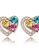 Stud Earrings Crystal Love Heart Euramerican Personalized Chrome Jewelry For Wedding Party Birthday Gift 1 pair