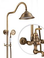 Antik Rustikal Modern Nur Dusche drehbarer with  Keramisches Ventil Einzigen Handgriff Zwei Löcher for  Antikes Kupfer , Duscharmaturen